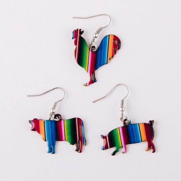 """Enamel coated serape rooster earrings. Approximately 1"""" in length."""