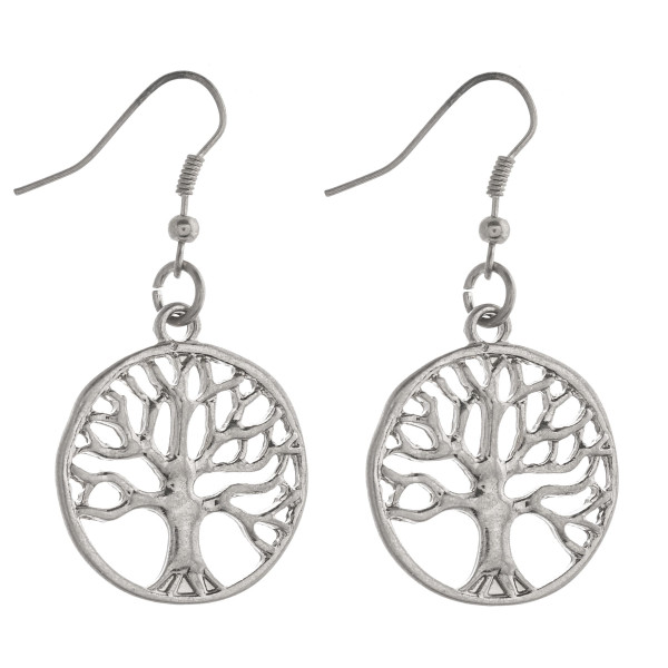"""Metal tree of life dangle earrings. Approximately 1.5"""" in length."""