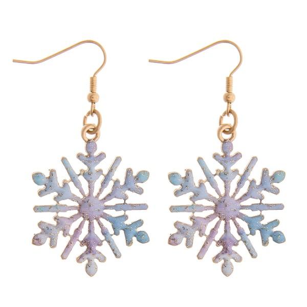 "Enamel coated snowflake dangle earrings.   - Approximately 2"" in length"