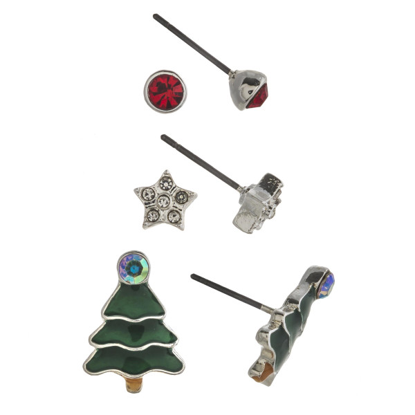 """Christmas assorted stud earring set featuring rhinestone and enamel details. Approximately .5cm in diameter to .5"""" in length."""
