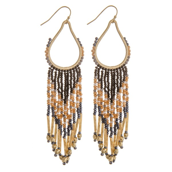 "Seed beaded teardrop tassel earrings.  - Approximately 4"" in length"