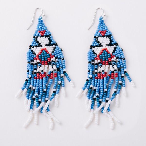 """Seed beaded tribal print boho tassel earrings.  - Approximately 4"""" in length"""