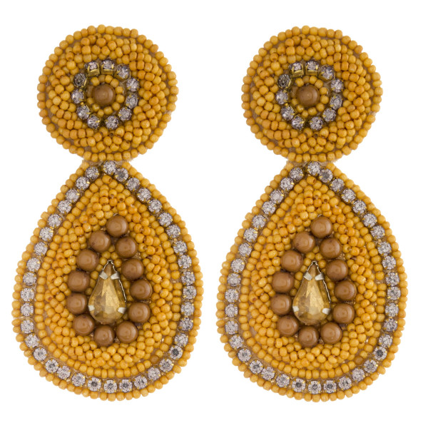 "Oversized felt seed beaded teardrop earrings with cubic zirconia and rhinestone accents. Approximately 3"" in length."