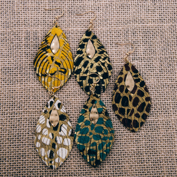 """Genuine leather metallic animal print dangle earrings with metal accents. Approximately 3"""" in length."""