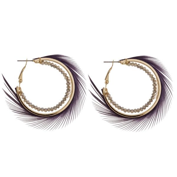 "Beaded boho feather hoop earrings. Approximately 2"" in diameter."