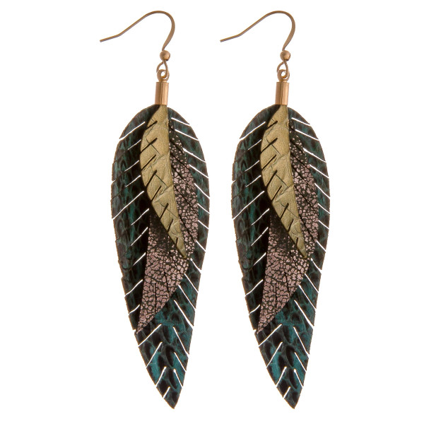 """Genuine leather layered snakeskin feather dangle earrings. Approximately 3.5"""" in length."""