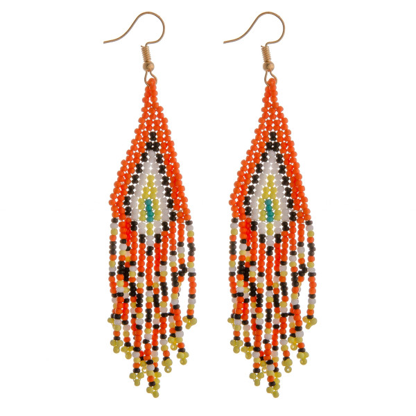 "Multicolor seed beaded tassel dangle earrings. Approximately 3.5"" in length."