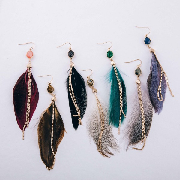 "Natural stone double chain accented feather dangle earrings. Approximately 4.5"" in length."