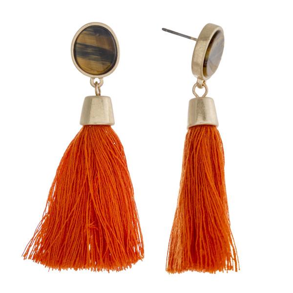 """Natural stone encased thread tassel dangle earrings. Approximately 2.25"""" in length."""