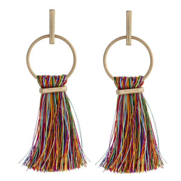 "Fan tassel bar stud open circle dangle earrings. Approximately 3"" in length."
