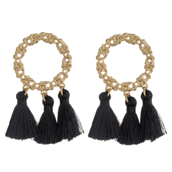 "Fan tassel chain link texture dangle earrings. Approximately 2"" in length."