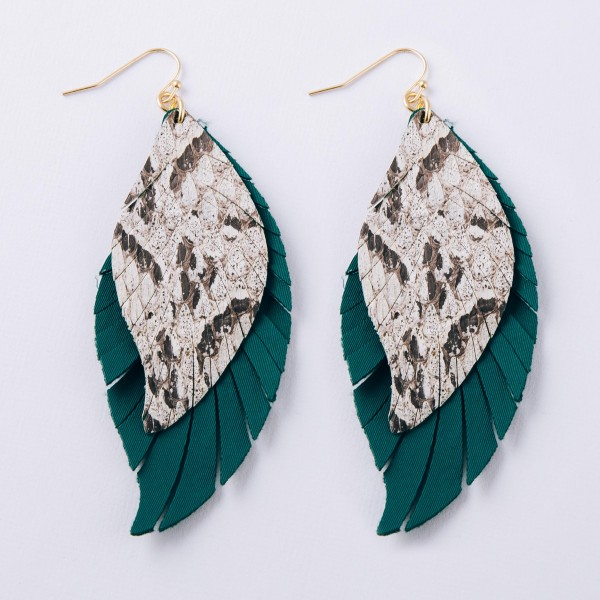 "Layered faux leather snakeskin feather boho earrings.  - Approximately 3.5"" in length"