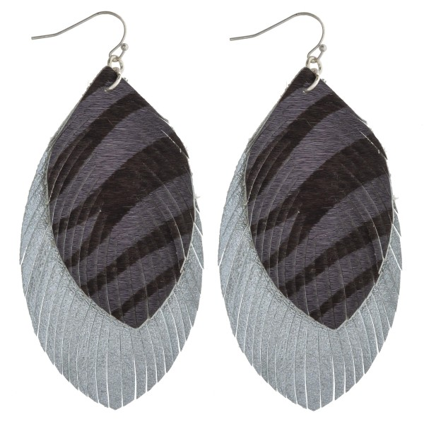 "Faux fur animal print feather layered boho earrings. Approximately 3.5"" in length."