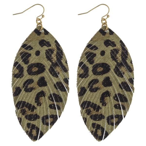 "Faux fur leopard print feather drop earrings. Approximately 3.5"" in length."