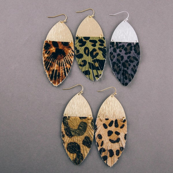 "Faux fur leopard print feather linked drop earrings. Approximately 3"" in length."