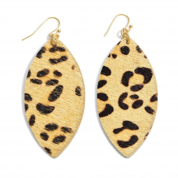"""Leopard print faux fur pointed oval drop earrings. Approximately 2.5"""" in length."""