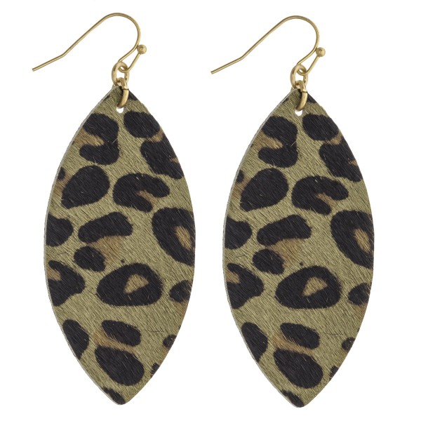 "Leopard print faux fur pointed oval drop earrings. Approximately 2.5"" in length."