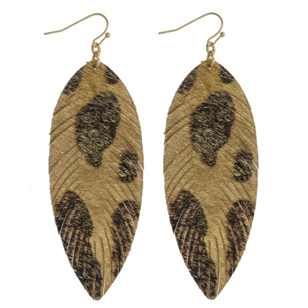 "Leopard print faux fur narrow feather drop earrings. Approximately 3.5"" in length."