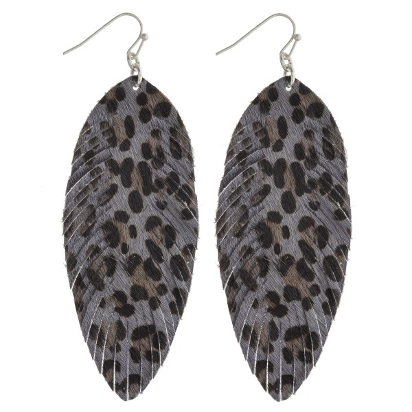 "Leopard print faux fur narrow feather drop earrings. Approximately 3.5"" in length."
