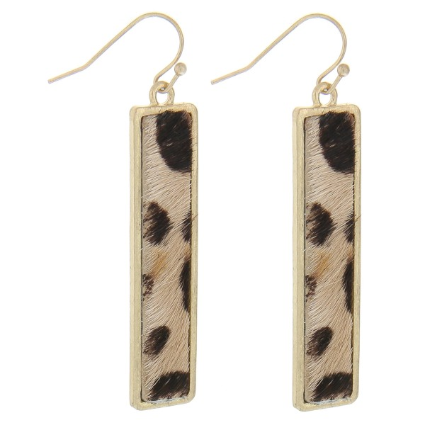 "Faux fur leopard print bar earrings.  - Approximately 2.5"" in length"