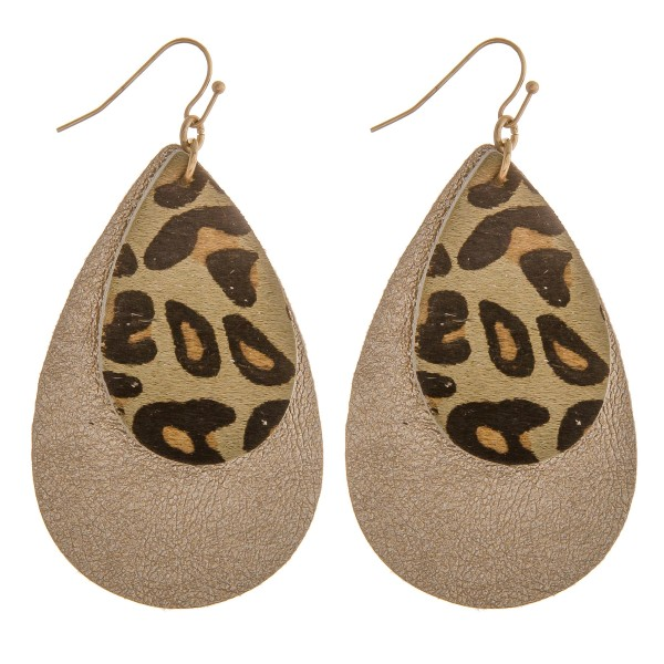 """Faux fur leopard print metallic teardrop earrings.  - Approximately 2.5"""" in length"""