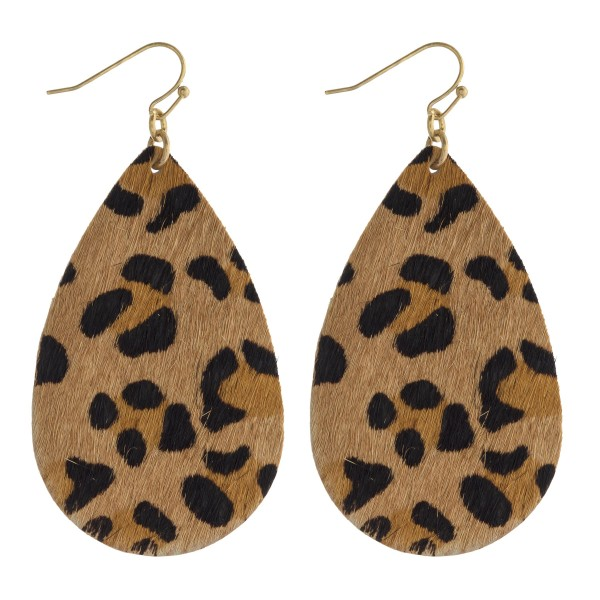 "Leopard print cowhide teardrop earrings.   - Approximately 2.5"" in length"