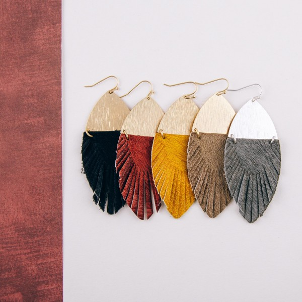 """Faux fur feather linked drop earrings. Approximately 3"""" in length."""