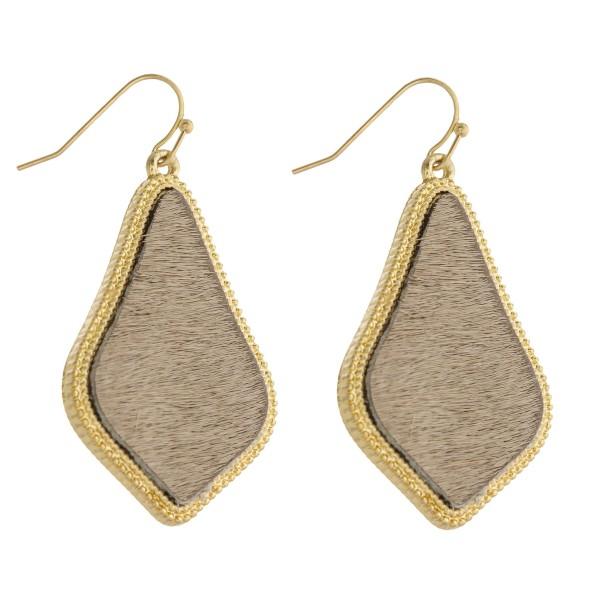 "Cowhide encased arabesque drop earrings.   - Approximately 2"" in length"