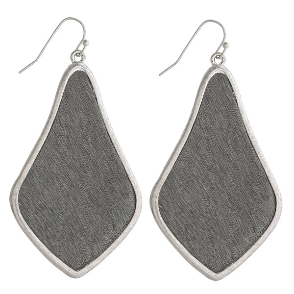 "Cowhide encased arabesque drop earrings.   - Approximately 2.5"" in length"