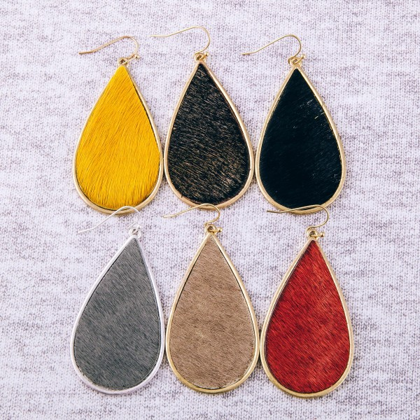 "Faux fur encased teardrop earrings. Approximately 2.5"" in length."