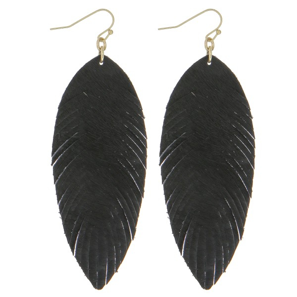 "Faux leather cowhide narrow feather earrings.  - Approximately 3.5"" in length"