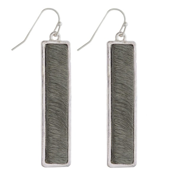 "Faux fur encased bar drop earrings. Approximately 2"" in length."