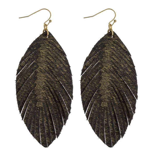 "Faux fur feather drop earrings. Approximately 3.5"" in length."
