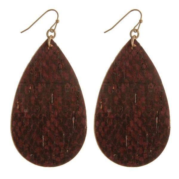 """Snakeskin faux cork teardrop earrings.  - Approximately 2.5"""" in length"""