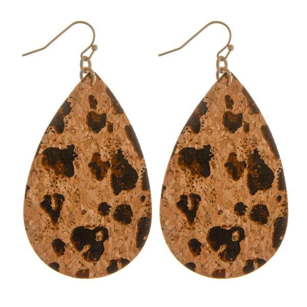 """Leopard print faux cork teardrop earrings.  - Approximately 2.5"""" in length"""