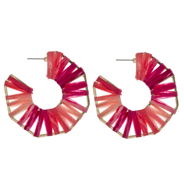 "Ombre raffia wrapped octagon open hoop earrings. Approximately 2.25"" in diameter."
