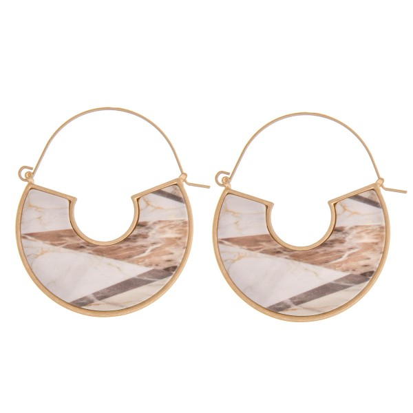 """Marble matte resin thin wire pin catch hoop earrings.   - Approximately 2"""" in diameter"""