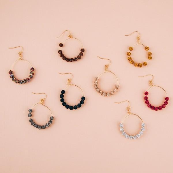 "Rhinestone studded beaded drop earrings. Approximately 2"" in length."