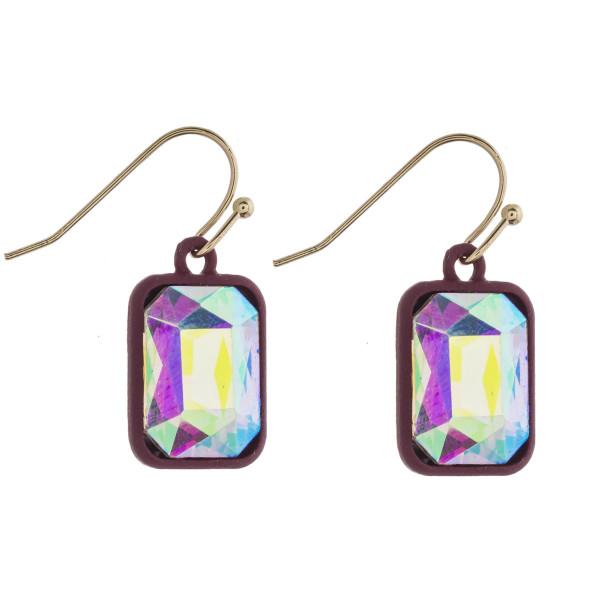 "Two tone rhinestone encased drop earrings. Approximately 1"" in length."