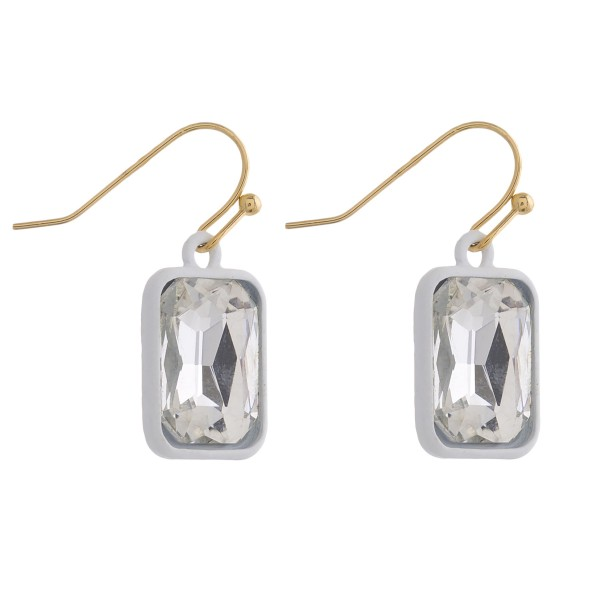 "Two tone rhinestone encased drop earrings. Approximately 1"" in length."