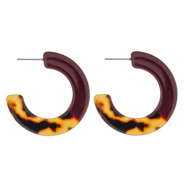 """Resin color block open hoop earrings. Approximately 1.5"""" in diameter."""