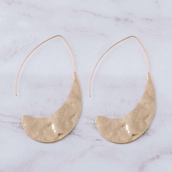 "Thin hammered threader teardrop hoop earrings. Approximately 2.5"" in length."