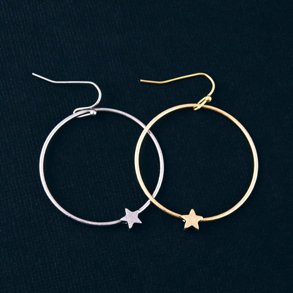 "Metal open circle star drop earrings. Approximately 1.5"" in length."