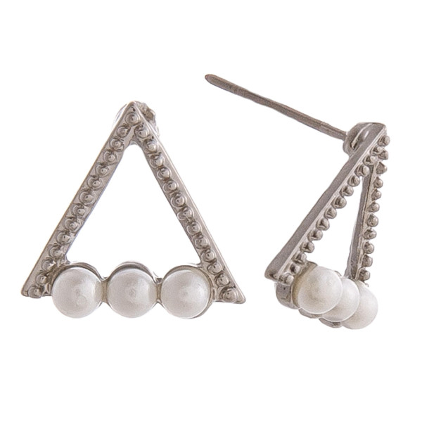 """Triangle pearl beaded stud earrings. Approximately .5"""" in length."""