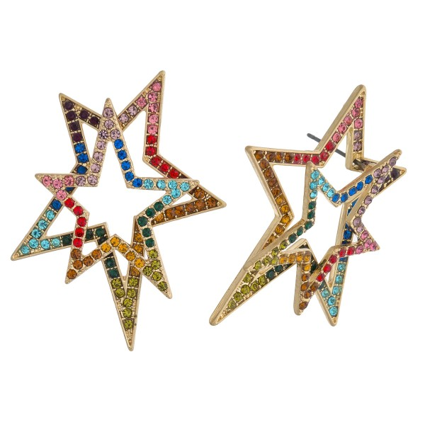 "Rhinestone encased double star drop earrings. Approximately 1.75"" in length."