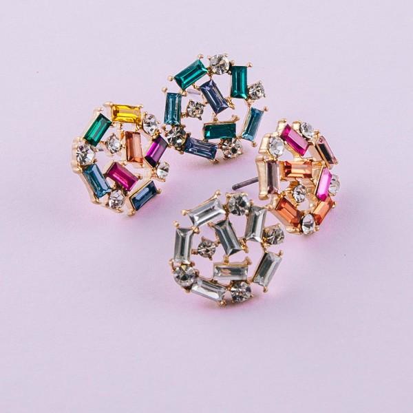"""Mixed rhinestone encased stud earrings. Approximately .5"""" in diameter."""
