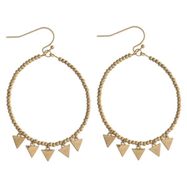 """Ball beaded triangle accented dangle earrings. Approximately 2"""" in length."""