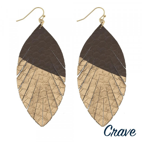 "Faux leather snakeskin metallic feather earrings. Approximately 3.5"" in length."