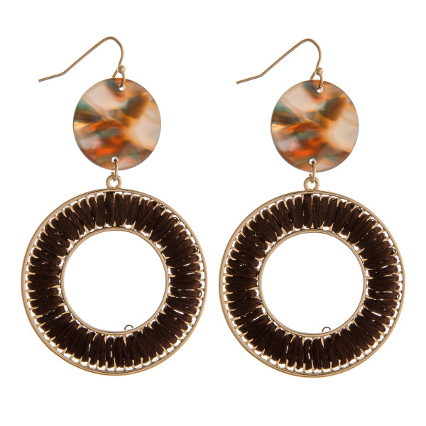 """Marble resin accented thread wrapped dangle earrings. Approximately 2.5"""" in length."""