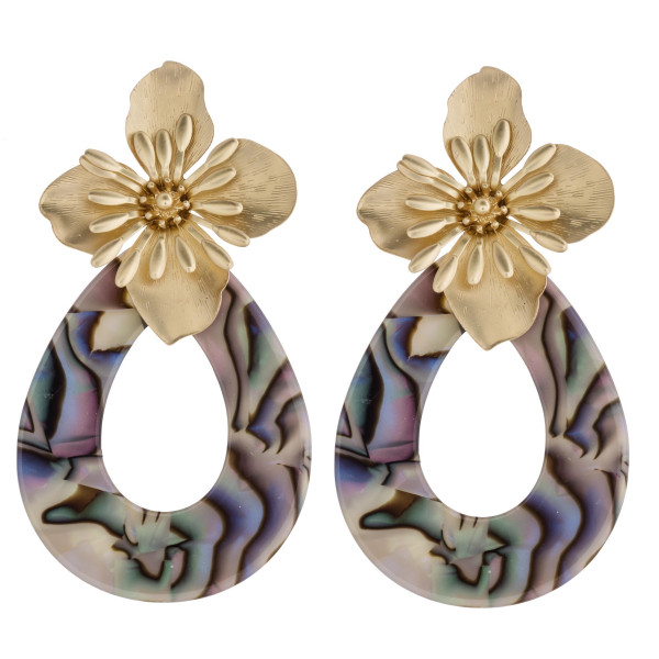 """Flower accented abalone resin teardrop earrings. Approximately 3"""" in length."""